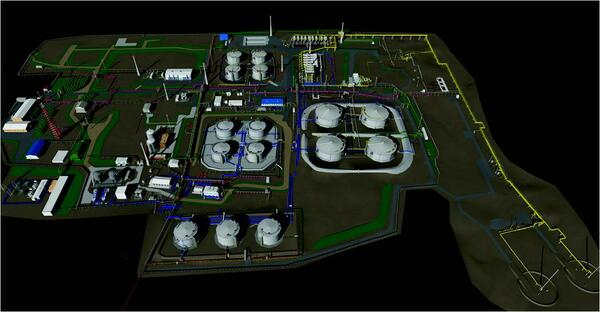 Рис. 2. Комплексная трехмерная информационная модель обустройства нефтяного месторождения, выполненная специалистами ОАО НижневартовскНИПИнефть