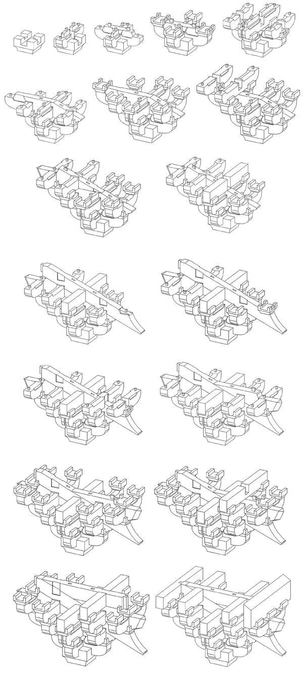 Процесс формирования консольной капители из базовых элементов системы доугун