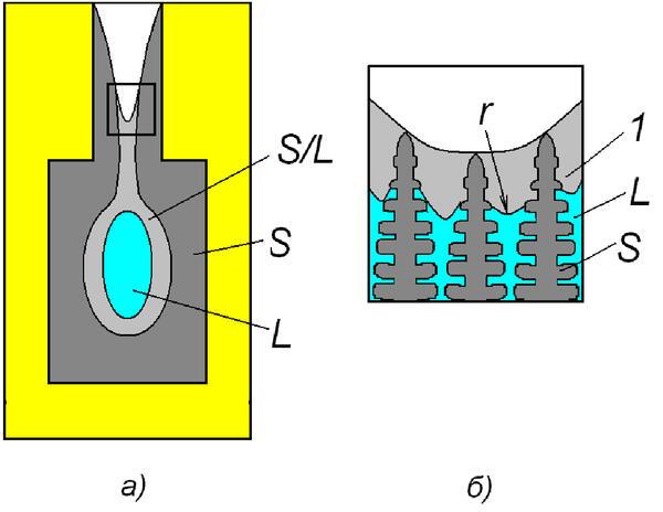 Рис. 3. Схема образования макропористости в двухфазной зоне на границе открытого теплового узла, где L – расплав; S – твердая фаза; F – форма; 1 – зона осушенных дендритов (макропористость); – радиус кривизны поверхности расплава; S/L – зона непрерывного дендритного каркаса, FL≤F**L