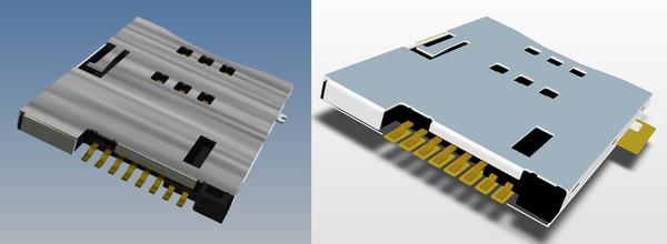 Рис. 1. Пример 3D-модели корпуса электронного компонента в Inventor (слева) и эта же модель, импортированная и подключенная к библиотечному посадочному месту в Altium (справа)
