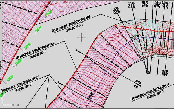 Рис. 4. Проектный план противоэрозионной защиты трассы