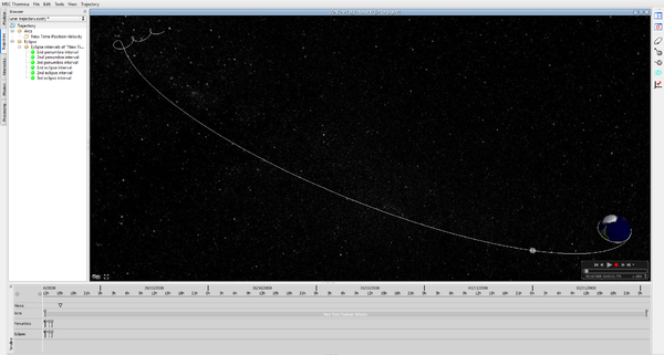 Рис. 9. MSC Systema Trajectory: пример составной траектории с Земли на Луну