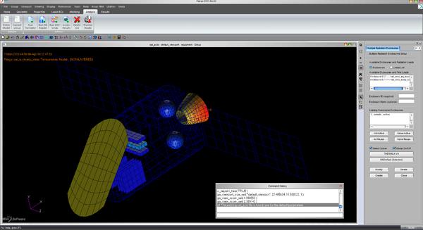 Рис. 13. Результаты теплового анализа в нескольких камерах одновременно: SindaRAD – отсек оборудования, MSC Thermica – внешние поверхности КА