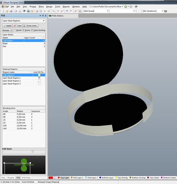 Рис. 10. 3D-визуализация гибки платы