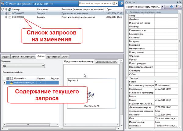 Рис. 12. Интерфейс пользователя для отправки запросов на изменения