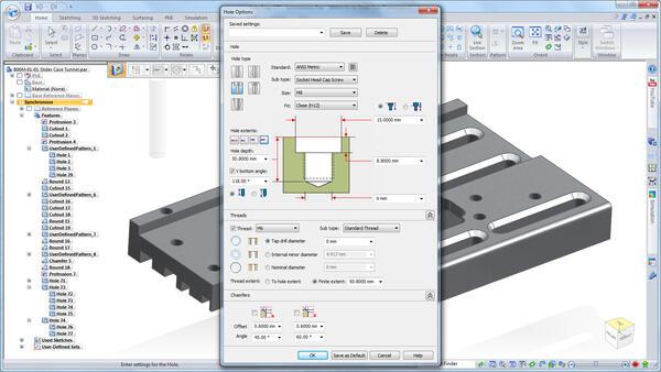 Новые инструменты построения отверстий позволяют создавать резьбы по стандартам DIN, ISO и ANSI