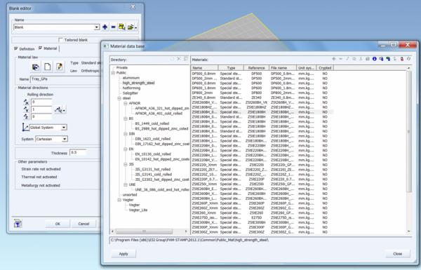 Диалоговое окно базы материалов