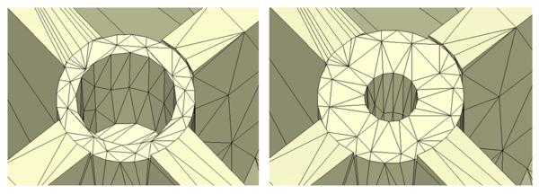 Рис. 2. Изменения толщины участка модели