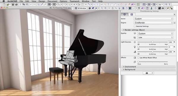 Рис. 2. Визуализация, созданная в ArchiCAD 18 с использованием установленных по умолчанию настроек движка CineRender, схожих с автоматическими настройками камеры