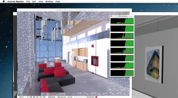 Рис. 3. Процесс рендеринга в ArchiCAD 18, при котором изображение визуализируется от центра к краям, а Монитор активности (Activity Monitor) показывает, что рендеринг осуществляется несколькими ядрами компьютера