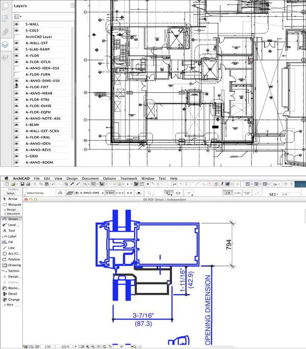 Рис. 7. Улучшенная поддержка PDF в ArchiCAD 18. На верхнем изображении представлен PDF-файл, экспортированный со слоями, которые можно включить или отключить. На нижнем можно видеть PDF-чертеж от производителя, который был развернут при импорте, что позволяет настраивать и менять элементы