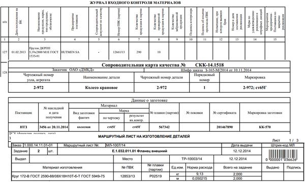 Примеры использования данных входного контроля в документах