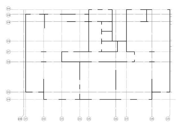 Фрагмент плана срединных линий несущих конструкций