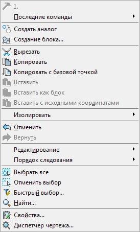Стандартное правокнопочное меню