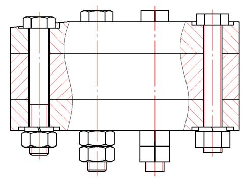 Рис. 1. Соединения шестигранными болтами и гайками