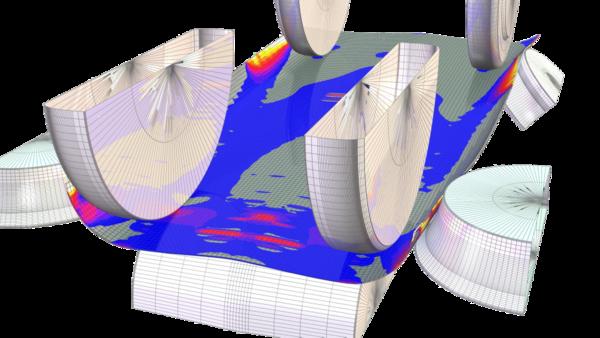 Рис. 5. Картина напряженно-деформированного состояния трубной заготовки при производстве труб диаметром 530 мм с толщиной стенки 6 мм в межклетьевом промежутке BD2 - BD3