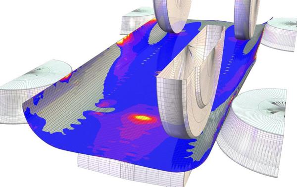 Рис. 6. Картина напряженно-деформированного состояния трубной заготовки при производстве труб диаметром 530 мм с толщиной стенки 6 мм в межклетьевом промежутке BD3 - BD4