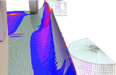 Рис. 7. Картина напряженно-деформированного состояния трубной заготовки при производстве труб диаметром 530 мм с толщиной стенки 6 мм в межклетьевом промежутке BD4 - RVS