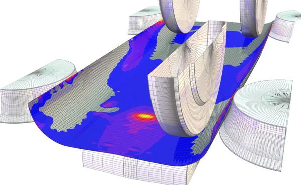 Рис. 8. Картина напряженно-деформированного состояния трубной заготовки при производстве труб диаметром 530 мм с толщиной стенки 6 мм в межклетьевом промежутке BD3 - BD4 после оптимизации