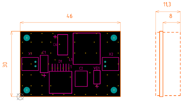 Рис. 5. Сформированные в Altium Designer вид сверху и вид сбоку сборочного чертежа