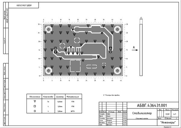Рис. 11. Первый лист чертежа платы после вывода в PDF