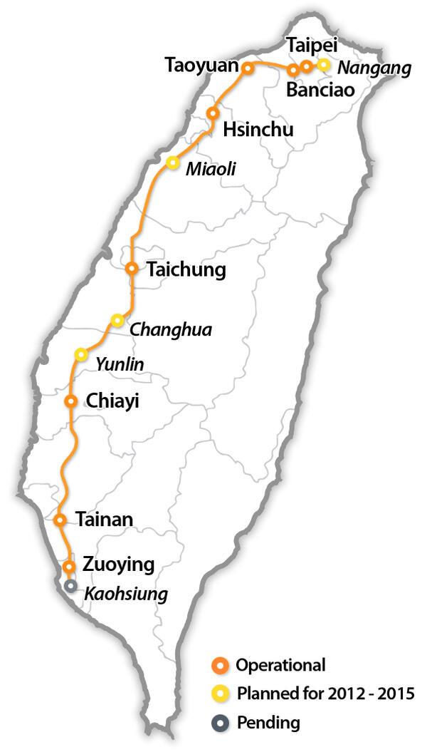 Карта высокоскоростной линии Тайваня: магистраль, эксплуатируемые станции, перспективные станции (предоставлено: Public domain Wikimedia Commons)