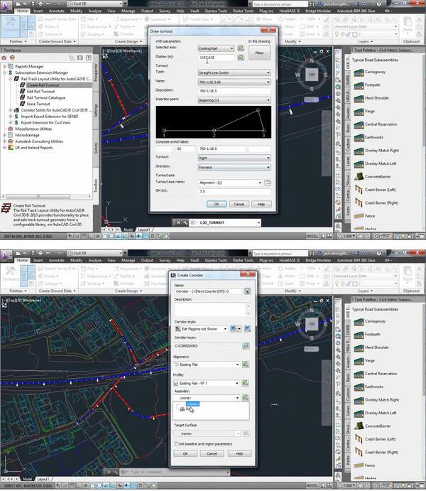 Детальное конструирование железной дороги с помощью Rail Layout Module для AutoCAD Civil 3D (предоставлено: Autodesk)