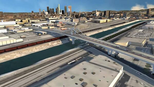 Кадр из видеопрезентации о новой ВСМ в Калифорнии, Лос-Анджелес (предоставлено: Autodesk)