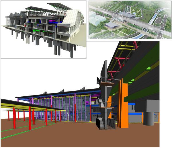 Применение Tekla Structures к моделированию и планировке нового вокзала на станции Чангва на Тайване (предоставлено: Tekla)