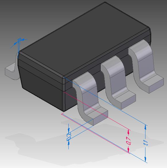 Рис. 1. Управляющие 3D-размеры на модели электронного компонента