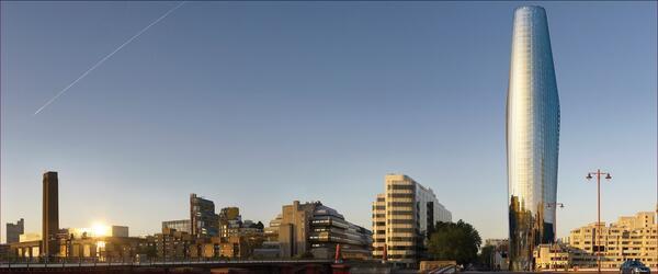 Вид проектируемого здания с севера через мост Блэкфрайерс, где наглядно представлены концепция двойного корпуса и изогнутые контуры башни. Автор изображений - Хейс Дэвидсон (Hayes Davidson)