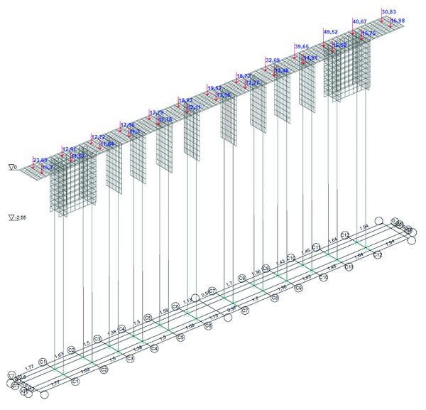 Рис. 11. Загружение 13, вертикальные нагрузки от опорных реакций пролетных строений