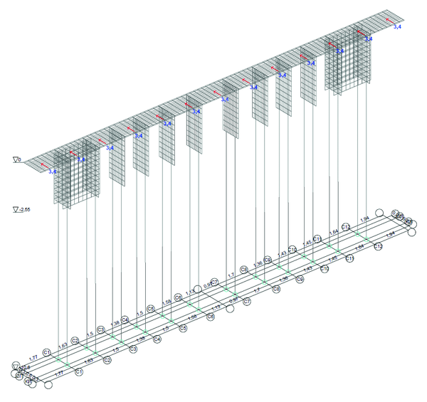 Рис. 12. Загружение 17, горизонтальные нагрузки от опорных реакций пролетных строений
