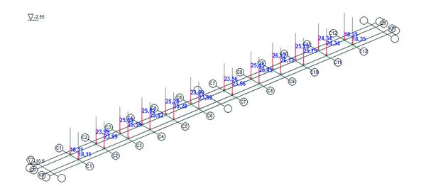 Рис. 13. Загружение 1, итерация 5, дополнительные вертикальные давления на связи конечной жесткости
