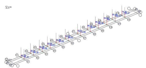 Рис. 14. Загружение 13, итерация 5, дополнительные вертикальные давления на связи конечной жесткости