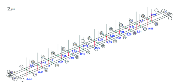 Рис. 15. Загружение 17, итерация 5, дополнительные вертикальные давления на связи конечной жесткости