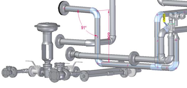 Рис. 3. Построенный трубопровод с фитингами