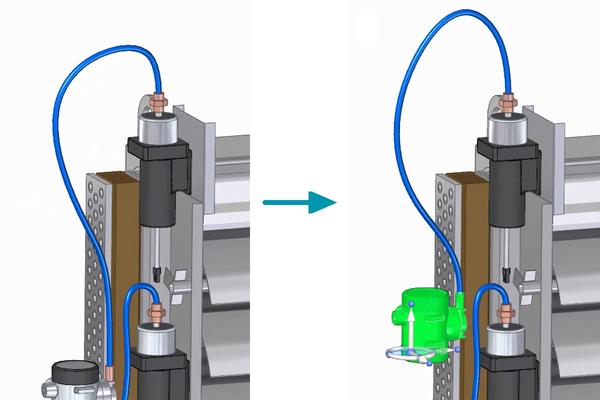 Рис. 6. Сохранение длины шланга при перемещении компонентов