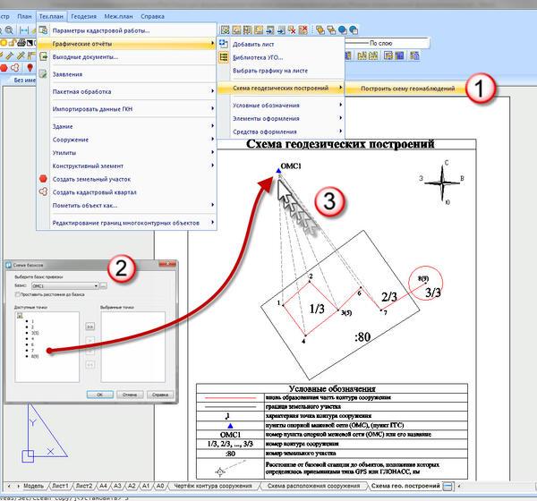 Рис. 12. Построение схемы геодезических наблюдений