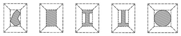 Приведение разных сечений колонн к расчетному прямоугольнику