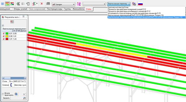 Результат анализа вертикальных перемещений от временных нагрузок
