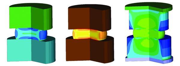 Примеры моделирования в Simufact.forming: осадка цилиндрической заготовки. В первом случае элементы оснастки моделируются как жесткие тела, во втором штамп наделен теплопроводящими свойствами (показано поле температур), в третьем штамп моделируется как деформируемый (в первом и третьем вариантах показано распределение эквивалентных деформаций)