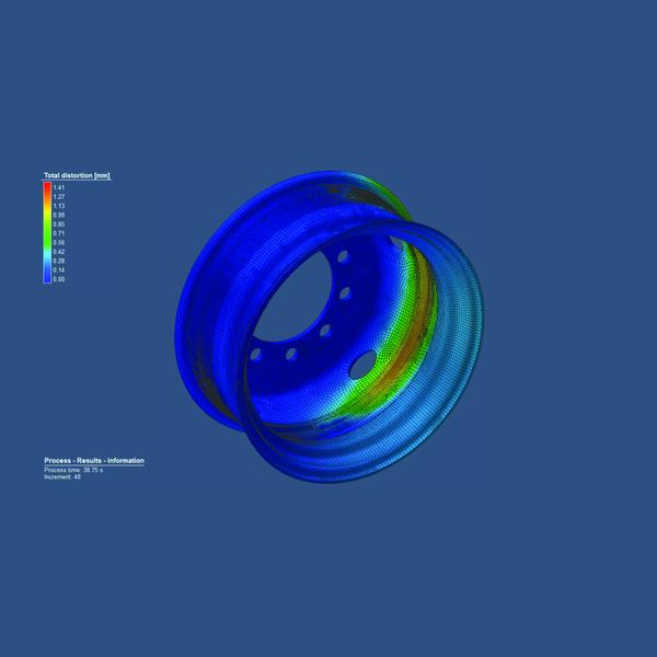 Один из результатов моделирования процесса дуговой сварки плавящимся электродом в Simufact.welding (отображение с помощью цветовой индикации поля абсолютных перемещений в миллиметрах)