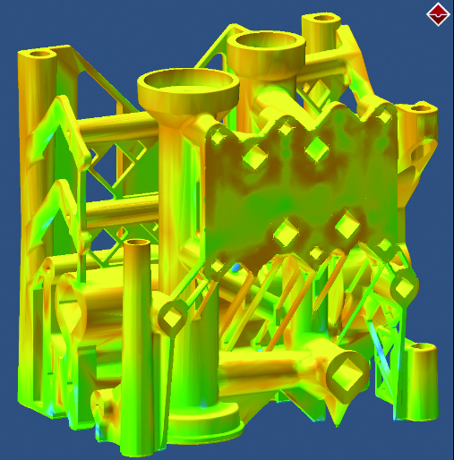 Пример моделирования в Simufact Additive технологии выращивания металлической детали на 3D-принтере. Цветом показано распределение остаточных напряжений