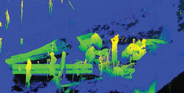 Рис. 7. Пример помех от людей при лазерном сканировании
