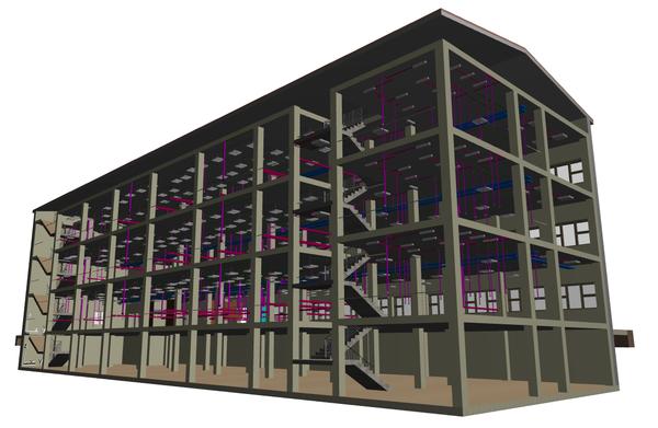 Модель электрической сети, выполненная в nanoCAD Электро, в сводной модели здания, организованной в ARCHICAD