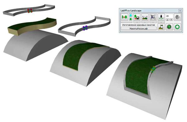 Проецирование элементов на криволинейные поверхности при помощи LabPP_Landscape