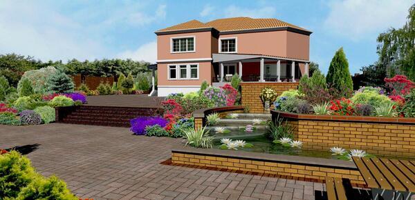 Проект экстерьера дома в колониальном стиле с применением LabPP_Landscape