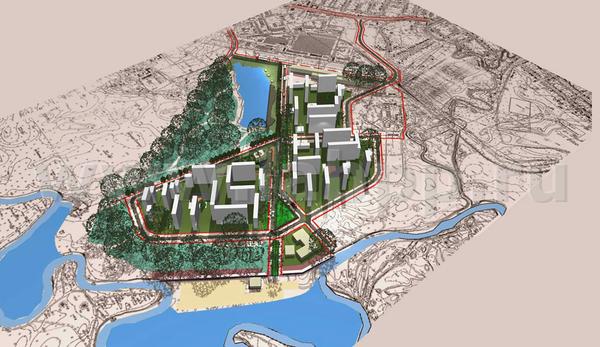 Одно из применений LabPP_GenPlan - 3D-вид в ARCHICAD при размещении строительных объектов на подложке