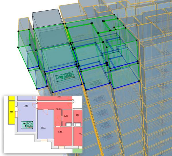 LabPP_Solaris: квартирография позволяет работать в 3D-окне с квартирами, расположенными в нескольких этажах